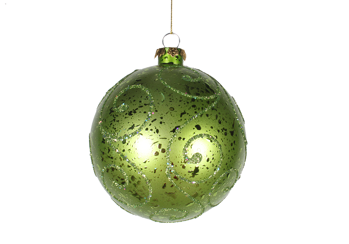 120MM Lime Green Ornament Ball with Lime Green Glitter Design