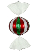 3' Red, White, and Green Peppermint Candy Ornament