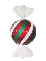 3.5' Red, White, and Green Peppermint Candy Ornament