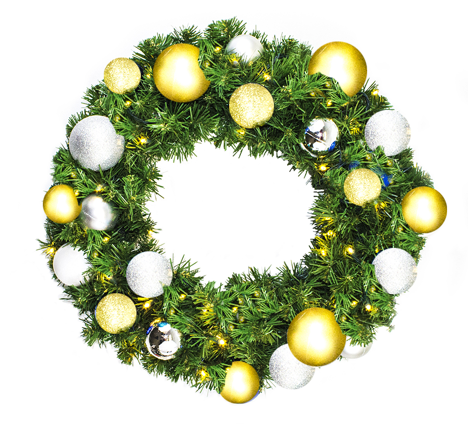 3' Blended Pine Wreath Decorated with The Treasure Ornament Collection Pre-Lit Warm White LEDS