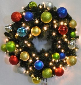 3' Sequoia Wreath Decorated with The Fiesta Ornament Collection Pre-Lit Warm White LEDS