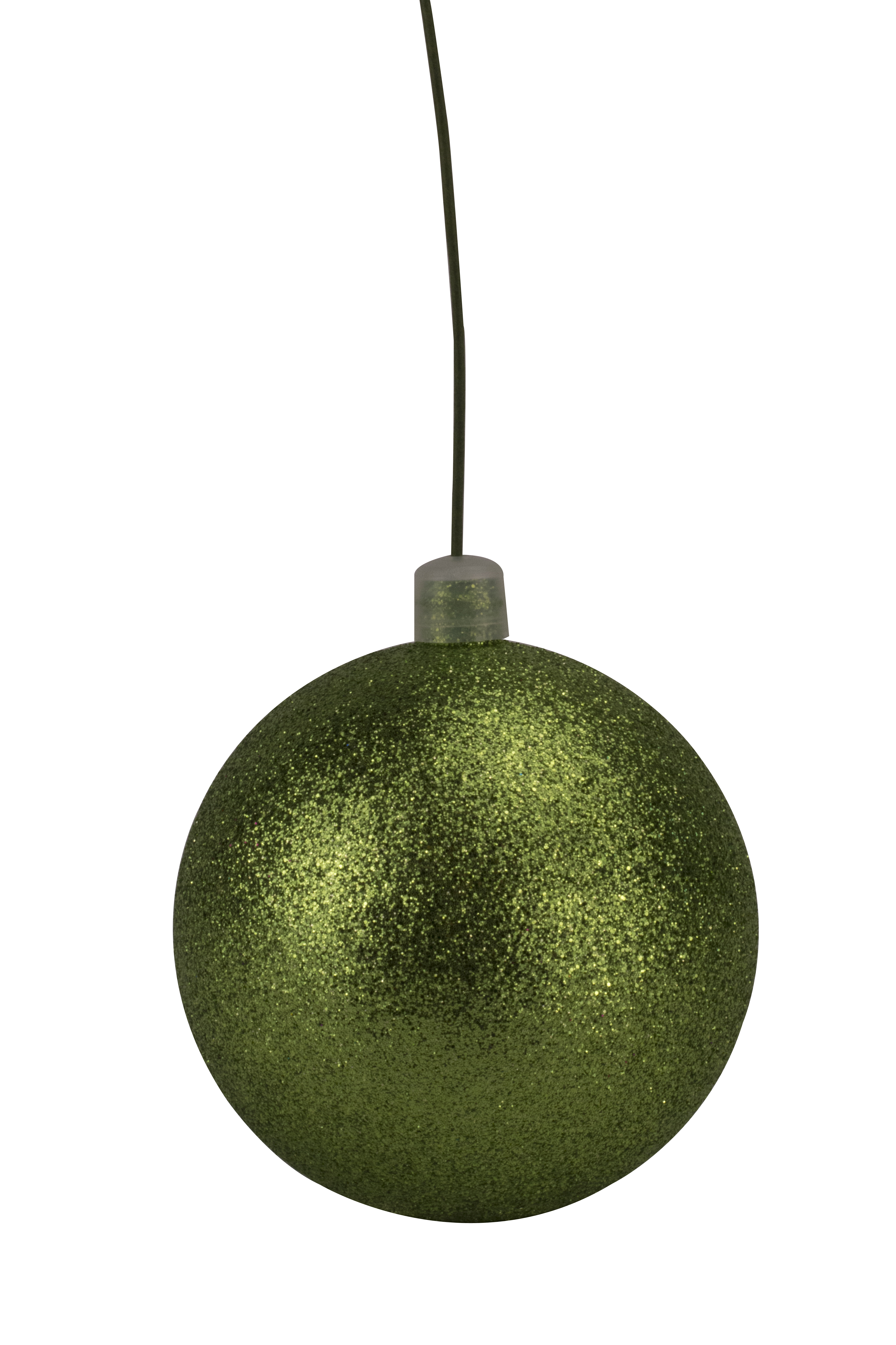 200mm Lime Green Glitter Ball Ornament with Wire