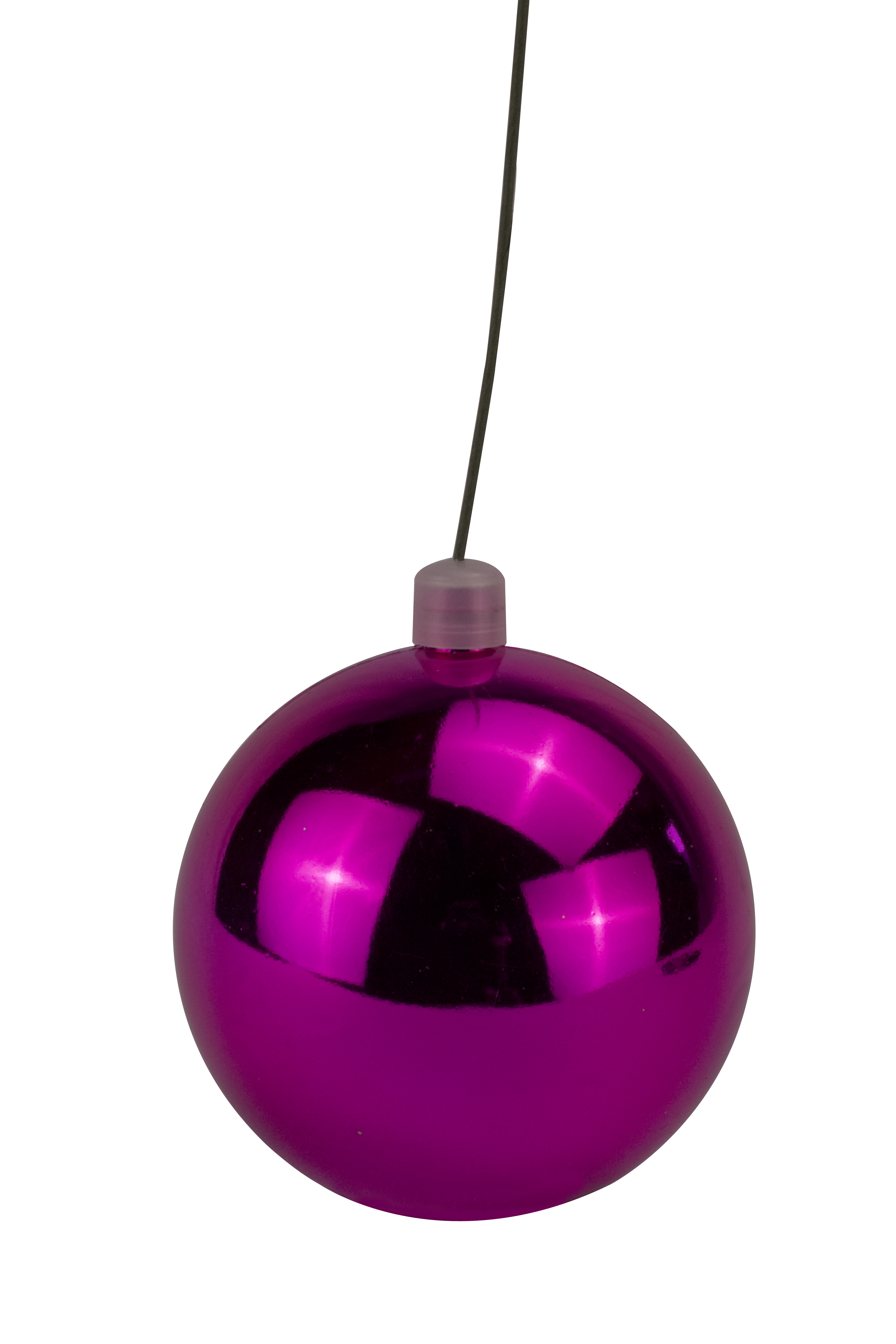 200mm Shiny Pink Ball Ornament with Wire, UV Coated