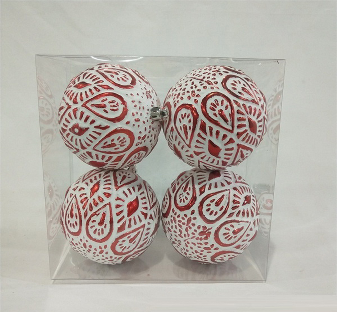 4 PACK RED & WHITE STUDDED ORNAMENTS