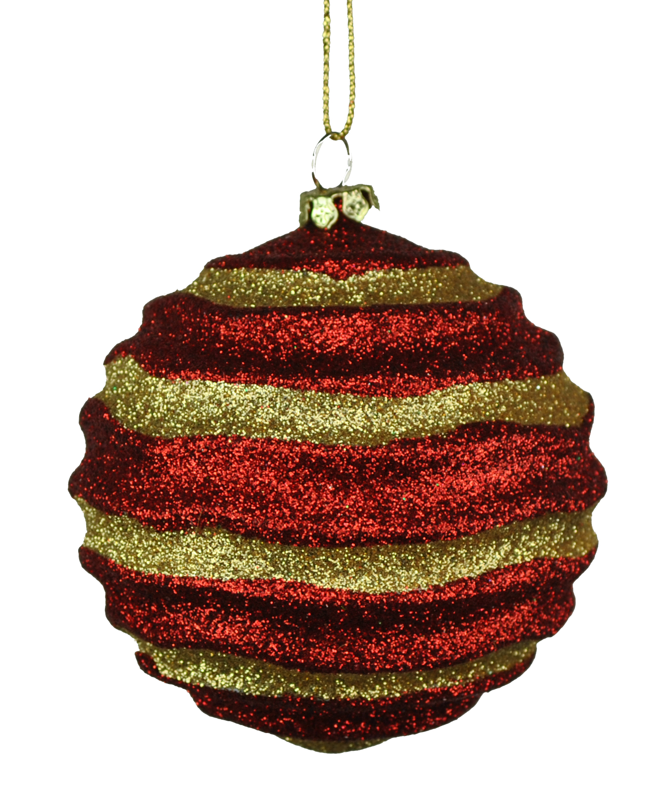 80MM STRIPE WAVES RED & GOLD BALL ORNAMENT