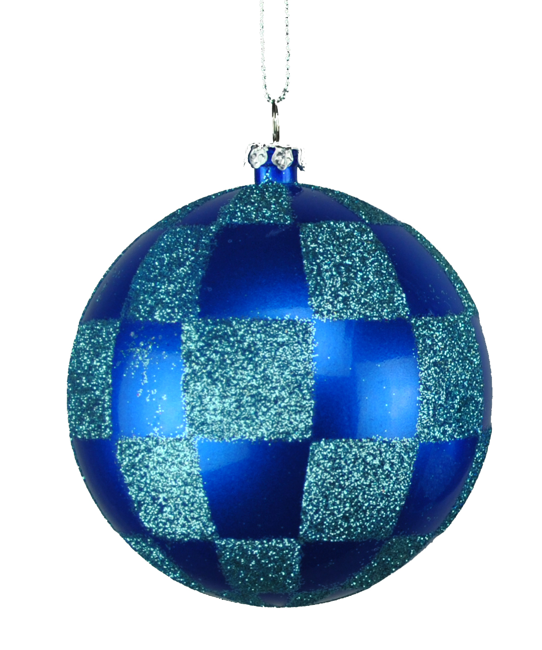 80MM BLUE & TEAL CHECKER BALL ORNAMENT