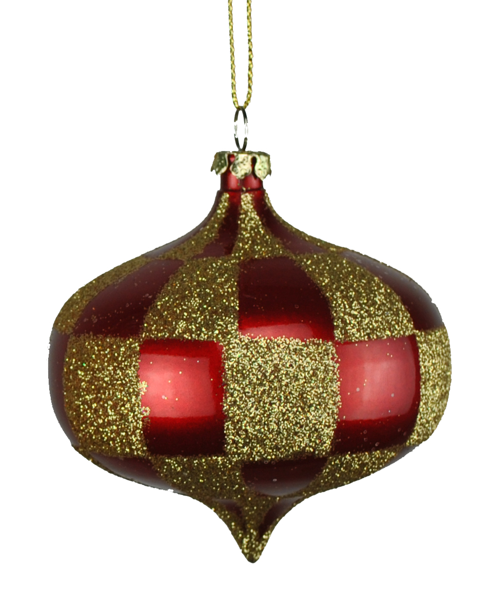 80MM RED & GOLD CHECKER ONION ORNAMENT