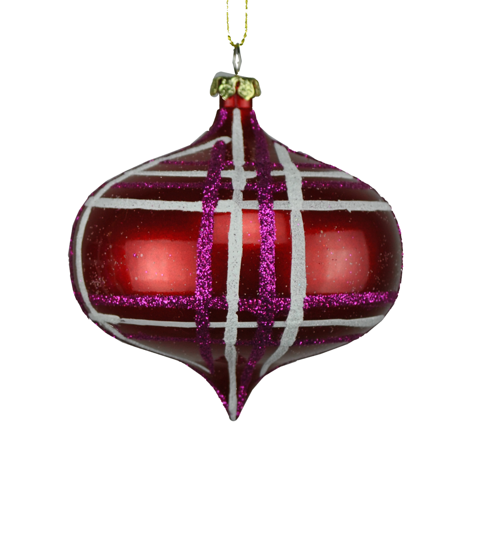 100MM RED,FUCHSIA & WHITE STRIPE ONION ORNAMENT