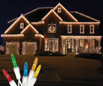 Standard Icicle M5 Multi Colored LED Light Set on White Wire