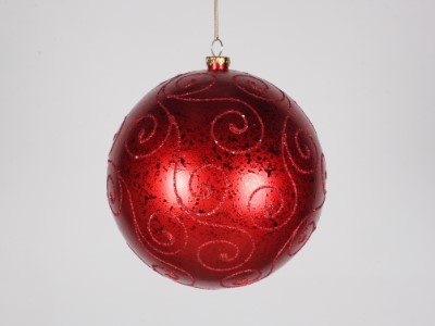 200mm Red Ball Ornament with Red Glitter Design