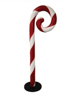 5' Swirled Candy Cane with Base