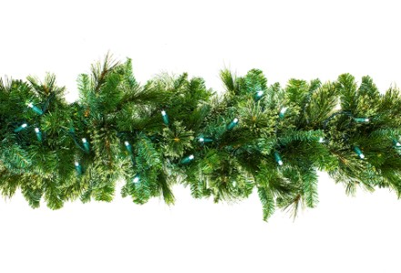 9' Blended Pine Garland Pre-Lit with Pure White LEDs