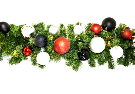 9' Pre-Lit Warm White LED Blended Pine Garland Decorated with the Modern Ornament Collection