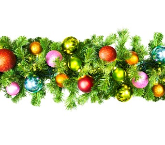 9' Pre-Lit Warm White LED  Sequoia Garland Decorated with the Tropical Ornament Collection