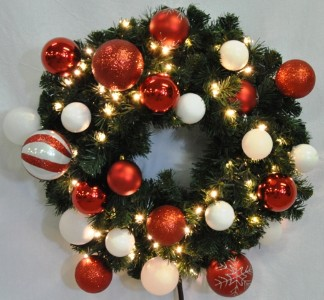 4' Warm White Pre-Lit LED Blended Pine Christmas Wreath Decorated with The Candy Ornament Collection