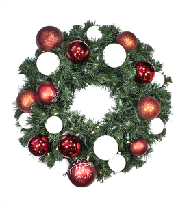 5' Sequoia Wreath Decorated with The Candy Ornament Collection Pre-Lit Warm White LEDS