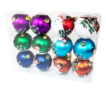 Assorted Colors Ball Ornament with Snowman Design 12PK