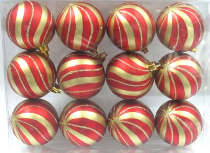 Red Ball Ornament with Gold sprial design 12pk