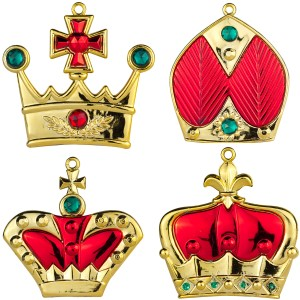 4pk Red Crown Ornaments