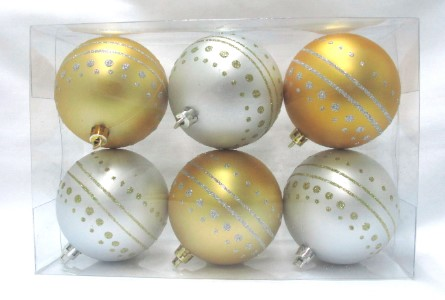 Gold and Silver Ball Ornament with Dot Design 6pk
