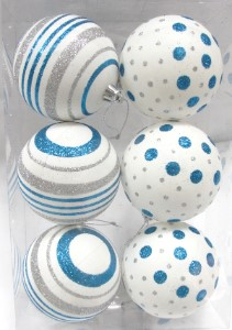 White Ball Ornament with Silver and Aqua Dot and Line Design 6pk