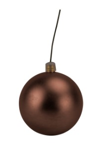 70mm Matte Brown Ball Ornament with Wire, UV Coated