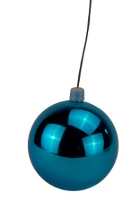 100mm Shiny Aqua Ball Ornament with Wire  and UV Coating