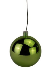 100mm Shiny Lime Green Ball Ornament with Wire and UV Coating