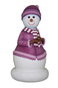 Mini Snowman Mother Dressed in Mauve