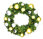 3' Sequoia Wreath Pre-Lit with Warm White LEDs Decorated with The Treasure Ornament Collection