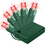 5MM Conical Battery Operated Red LEDs 50 Count Light Set on Green Wire