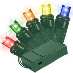 5MM Conical Battery Operated Multi Colored LEDs 70 Count Light Set on Green Wire