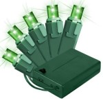 5MM Conical Battery Operated Green LEDs 70 Count Light Set on Green Wire