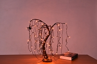 2' Orange LED Halloween Willow Bonsai Tree