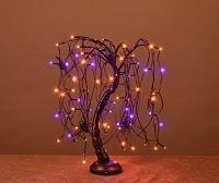 2' Purple and Orange LED Halloween Willow Bonsai Tree