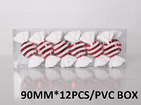 12 PACK RED CANDY ORNAMENTS