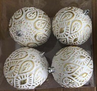 4 PACK GOLD & WHITE STUDDED ORNAMENTS