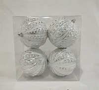4 PACK SILVER & WHITE STUDDED  ORNAMENTS