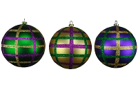 100MM 3 PACK GOLD, PURPLE & GREEN BALL ORNAMENTS