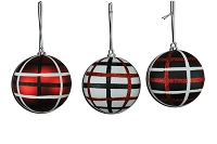 100MM 3 PACK BLACK, RED & WHITE BALL ORNAMENTS