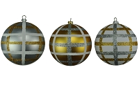 100MM 3PACK GOLD,SILVER & WHITE BALL ORNAMENTS