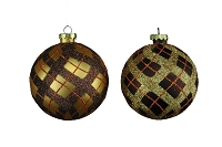 100MM 4 PACK CHOCOLATE & GOLD BALL ORNAMENTS