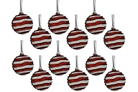 80MM RED & WHITE WAVY STRIPED BALL ORNAMENT