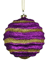 80MM STRIPE WAVES PURPLE & GOLD BALL ORNAMENT