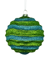 80MM STRIPE WAVES LIME GREEN & TEAL BALL ORNAMENT