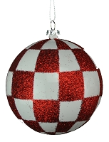 80MM WHITE & RED CHECKER BALL ORNAMENT