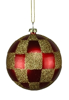 80MM RED AND GOLD CHECKERED ORNAMENT