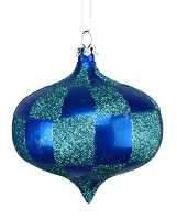 80MM BLUE & TEAL CHECKER ONION ORNAMENT