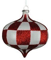 80MM WHITE & RED CHECKER ONION ORNAMENT