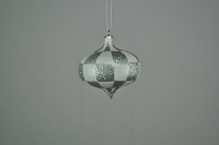 80MM WHITE & SILVER CHECKER ONION ORNAMENT